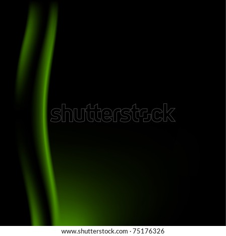 Fragment dark green stage curtain on a black background. Bitmap copy - stock photo