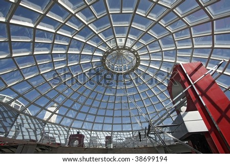 Fragment of a dome from glass and a steel in style hi-tech