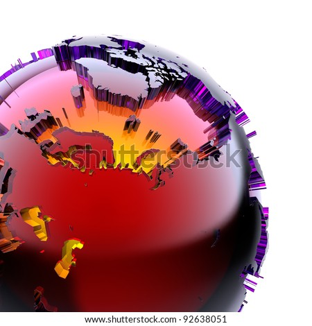 Fragment of a glass globe with a prominent stylized continents of stained glass with beveled, which glows from the inside with warm bright light. On a white background - stock photo