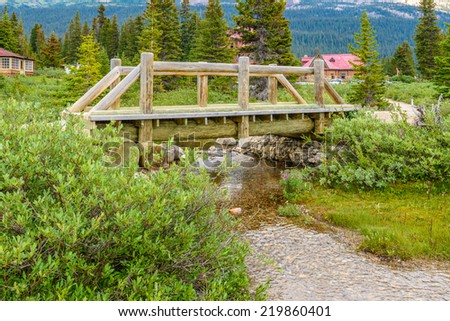 Fragment of a Lake trail in Banff, Alberta, Canada - stock photo