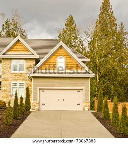 Fragment of a luxury house in Vancouver, Canada. - stock photo
