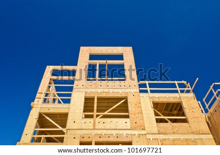 Fragment of a new home under construction in Vancouver, Canada. - stock photo