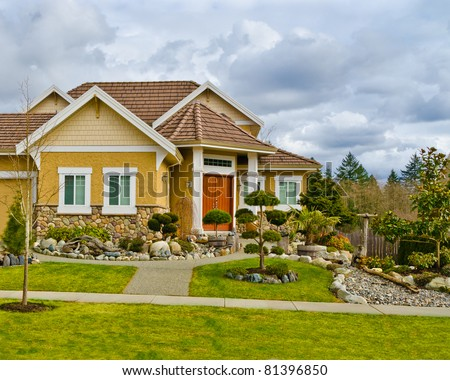 Home exterior house landscaping stock photo 134743988 for Nice houses in canada