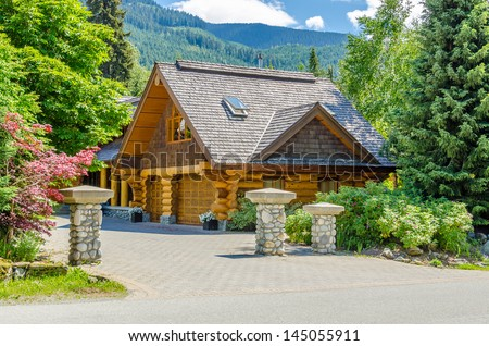 Fragment of a nice house over fantastic snow mountain view in Whistler, Vancouver, Canada. - stock photo