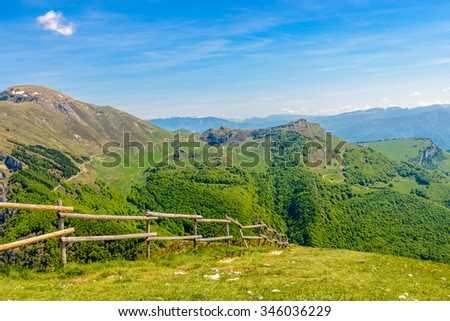 Fragment of a nice mountain view from the trail at Monte Baldo in Italy. - stock photo