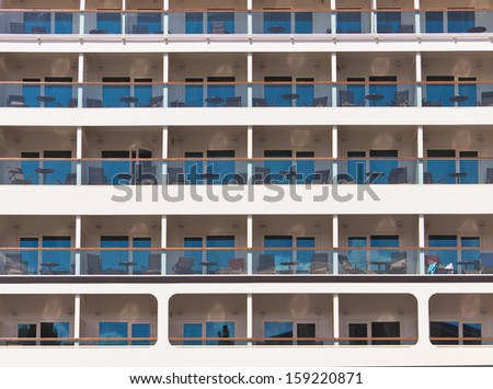 fragment of a passenger ferry with cabins - stock photo
