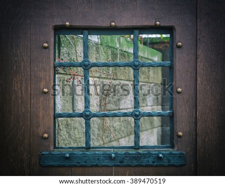 fragment of a wooden window with bars, old door with small details