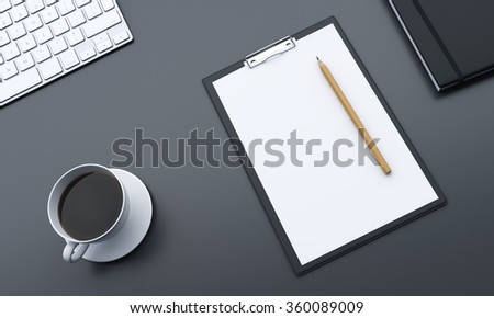Fragment of a workplace with blank notepad, pencil on it and a cup of black coffee to the left, datebook to the right, making notes. Concept of work - stock photo