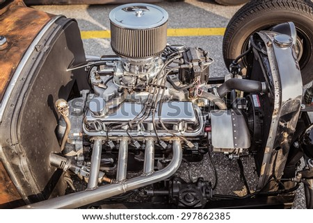 fragment of amazing stunning  closeup view of vintage classic retro car detailed engine parts