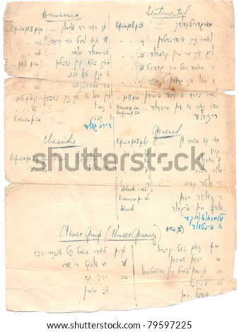 Fragment of an old handwritten Hebrew text. Rich stain and paper details. Can be used for background. - stock photo