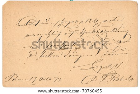 Fragment of an old handwritten letter. It was written in 1874. Rich stain and paper details. Can be used for background. - stock photo