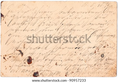 Fragment of an old handwritten letter, written in Germany in 1895. Rich stain and paper details. Can be used for background. - stock photo