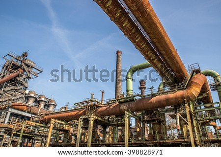 Fragment of an old industrial factoru plant - stock photo