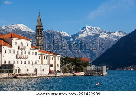 fragment of an old town Perast - stock photo