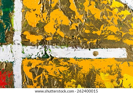 Fragment of an original abstract painting, golden background, colorful composition, oil and mixed media on canvas