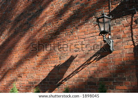 Fragment of ancient church wall (Old City, Riga, Latvia) - stock photo