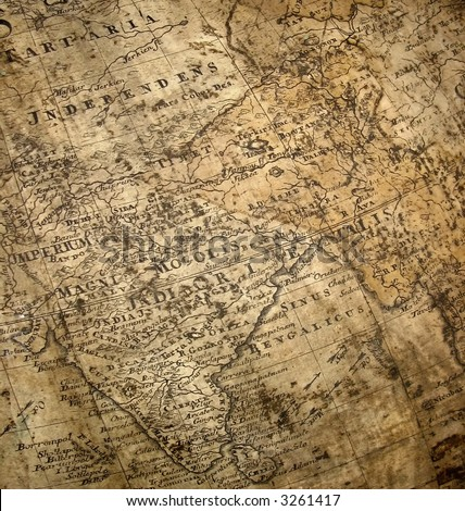 fragment of ancient map with india taking the most part of it and also china - stock photo