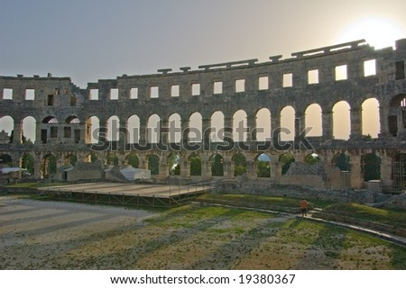 Fragment of ancient Roman amphitheater in Pula