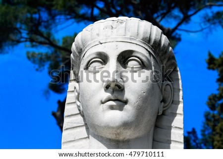 Fragment of Ancient statue of Sphinx on Piazza del Popolo, Rome, Italy