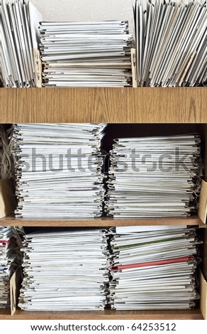 Fragment of archive of documents - stock photo