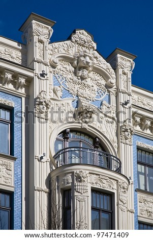Fragment of Art Nouveau architecture style of Riga city (Jugenstil). - stock photo