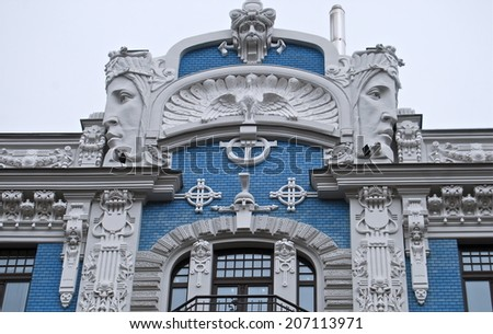 Fragment of Art Nouveau architecture style of Riga city, Latvia. - stock photo