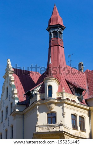 Fragment of Art Nouveau style (Jugenstil) on a house facade in Riga, Latvia. - stock photo