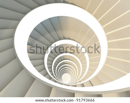 Fragment of beautiful white spiral staircase - stock photo