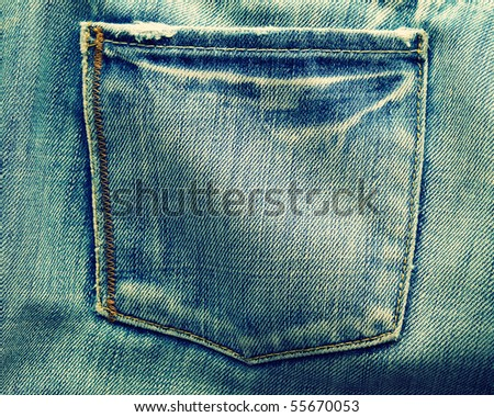fragment of blue modern jeans with pocket, can be used as a background - stock photo