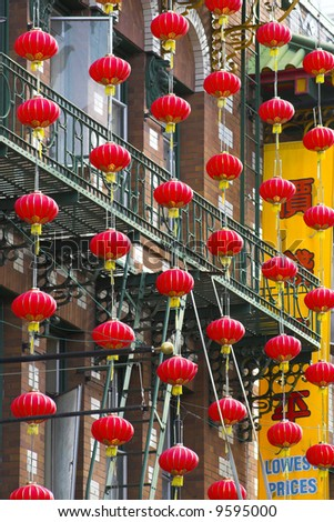 Fragment of colorful Chinatown street in San Francisco, California - stock photo