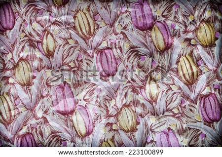 Fragment of colorful retro tapestry text, Fragment of colorful retro tapestry textile pattern with floral ornament useful as background - stock photo