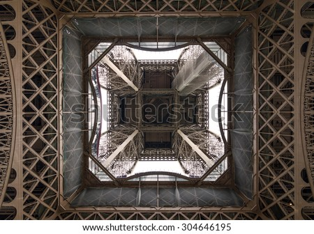Fragment of construction, Eiffel Tower in Paris, France - stock photo
