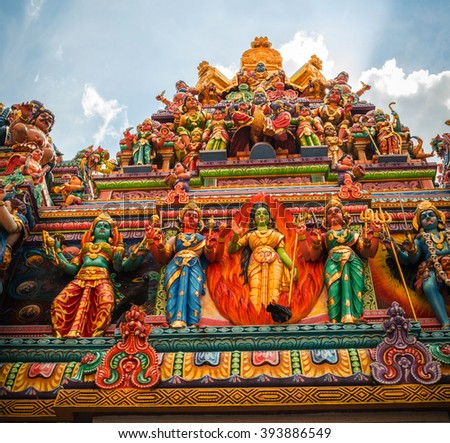 Fragment of decorations of the Hindu temple in Singapore - stock photo