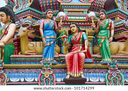 Fragment of decorations of the Hindu temple Sri Mariamman in Singapore