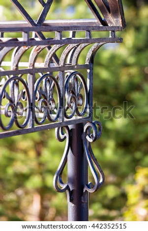 Fragment of forged metal products. Vertical photo - stock photo