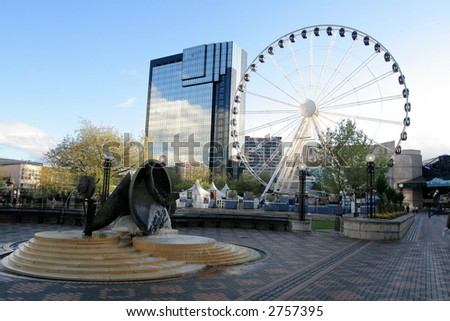 Fragment of grand Ferris Wheel in Birmingham, England, Europe. - stock photo