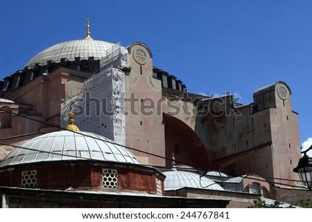 Fragment of Hagia Sophia in Istanbul, Turkey - stock photo