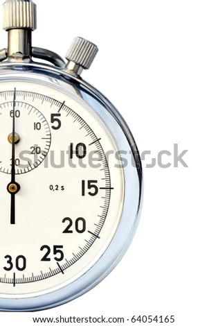 Fragment of hand mechanical stop-watch against white background - stock photo