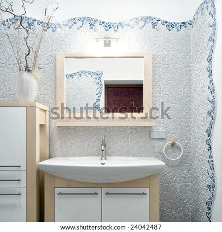 Fragment of interior in a new bathroom - stock photo