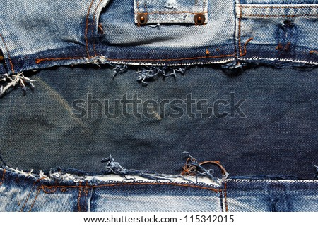 Fragment of jeans textures background - stock photo
