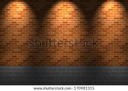 Fragment of light on orange brick wall and floor - stock photo