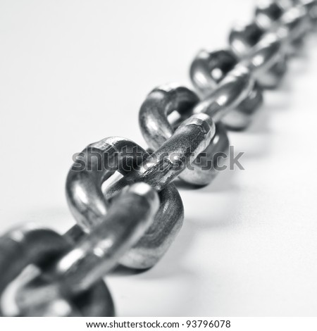 Fragment of links of a chain close up