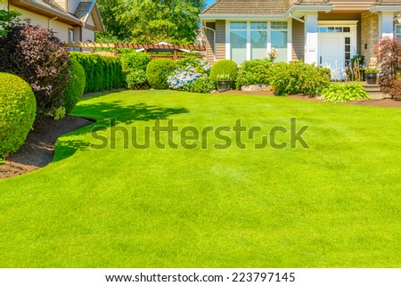Fragment of luxury house at sunny day in Vancouver, Canada. - stock photo