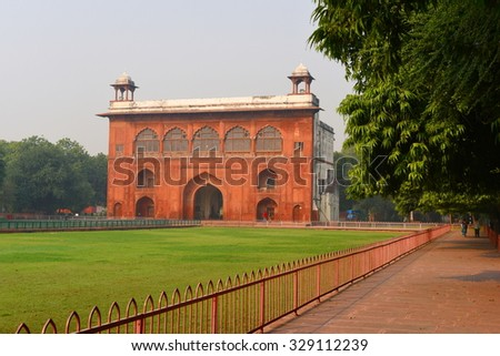 Fragment of majestic Red Fort or Lal Qila in Delhi, India. World Famous historic landmark - stock photo