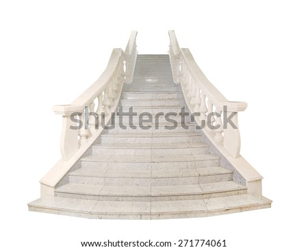 fragment of marble light stairs, railings, balusters, white background, isolated   - stock photo