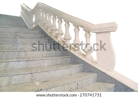 fragment of marble stairs, railings, balusters, white background, isolated - stock photo