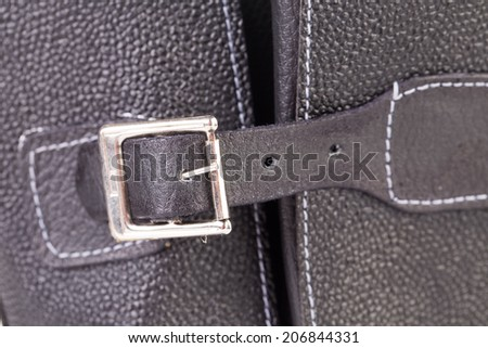 Fragment of Men's leather shoe. Isolated on a white background. - stock photo