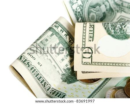 fragment of notes U.S. dollar - stock photo