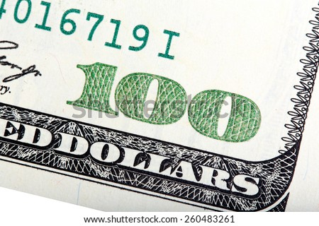 Fragment of old American one hundred dollar banknote. - stock photo