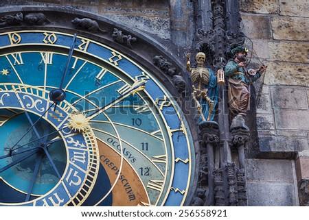 Fragment of old astrnomical Clock in Prague, Czech Republic - stock photo